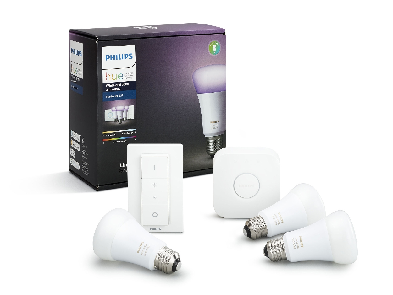Hue 3x žárovky LED E27 9,5W 806lm 2200-2700K + bridge + switch 8718696728796