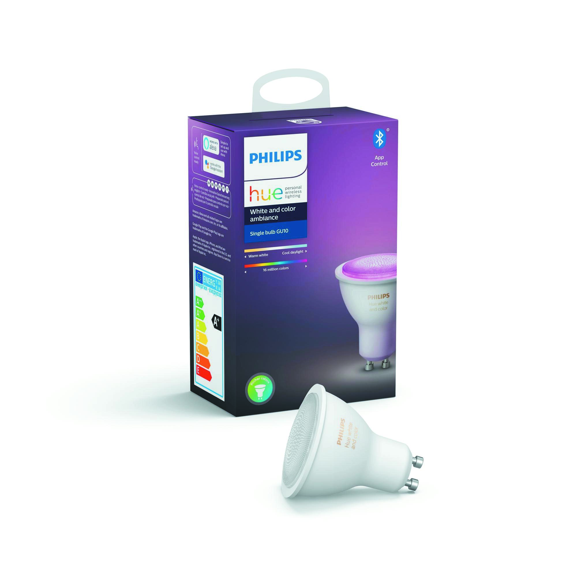 Philips Hue Bluetooth LED žárovka GU10 6,5W 250lm 2200-2700K, 16 mil.barev 8718699628659