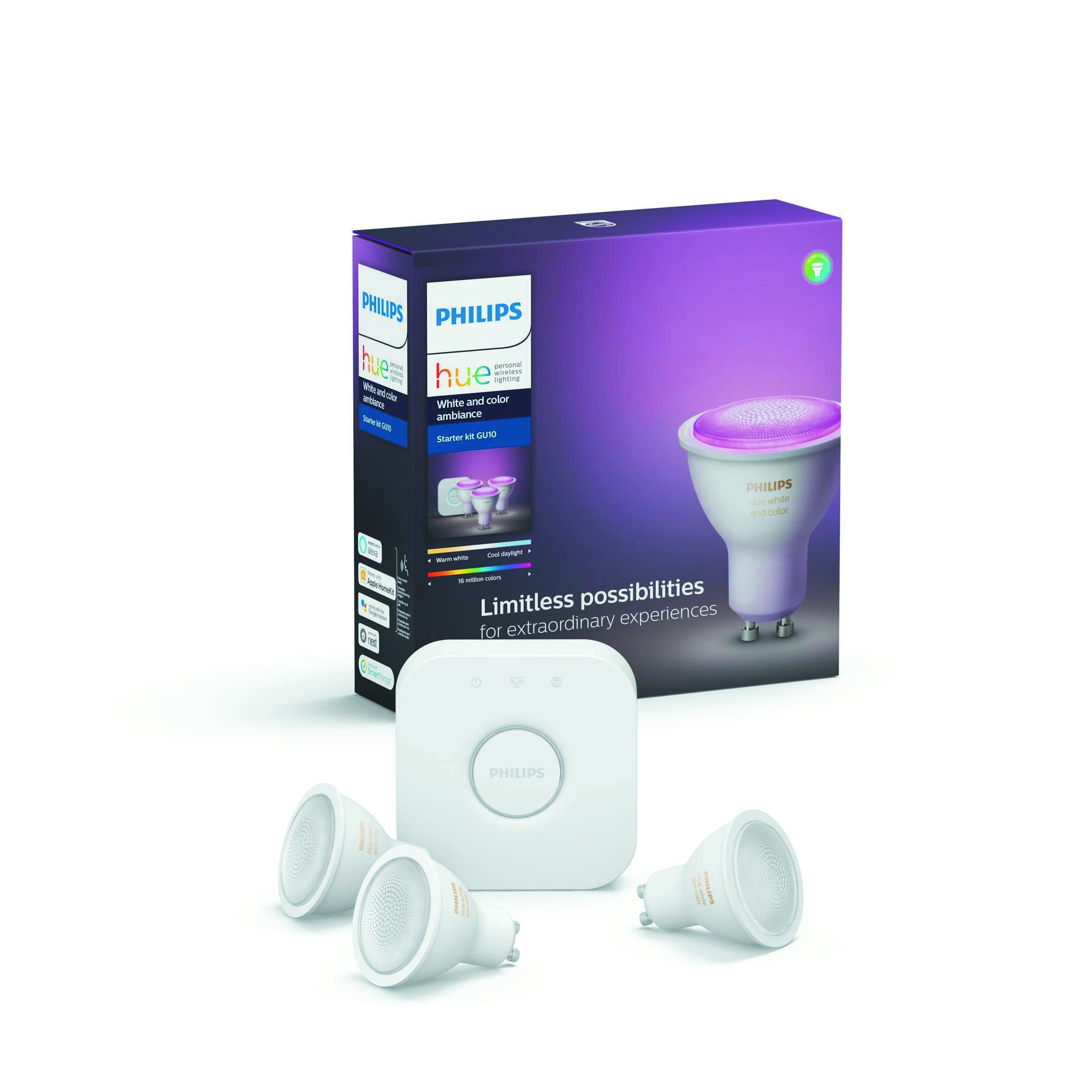 Philips Hue Bluetooth 3x LED žárovky GU10 5,7W 250lm 2200-2700K + bridge + switch 8718699629274