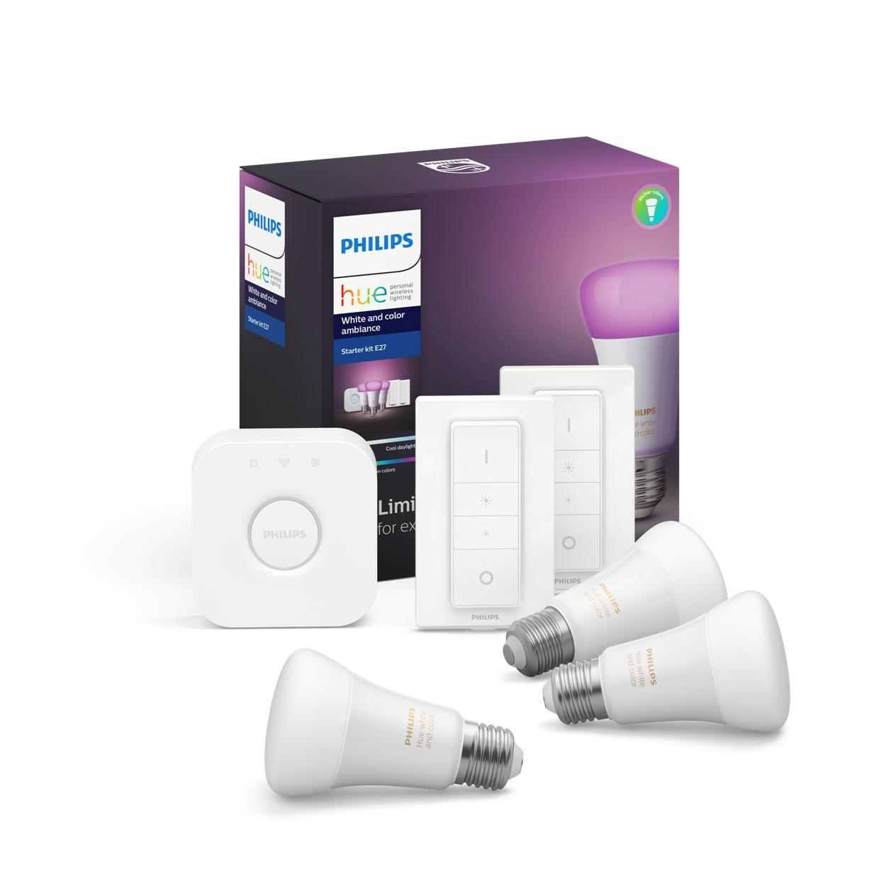 Philips Hue 3xžárovka LED E27 9W 806lm 2200-6500K 16mil.barev+Bridge+2xDimmerSwitch 8718699696917